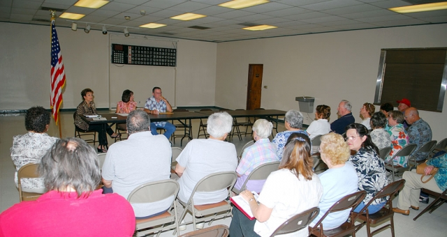 About two dozen senior citizens attended an impromptu meeting, Monday, May 19th, at the Fillmore Senior Center to voice their concerns over dwindling activities and financial accountability regarding the center budget and use of funds. Many complained to City Finance Director Barbara Smith, Community Services Supervisor Annette Cardona, and Senior Center Board Member Bill Burnett that the center needed to seek more funds and schedule more activities.