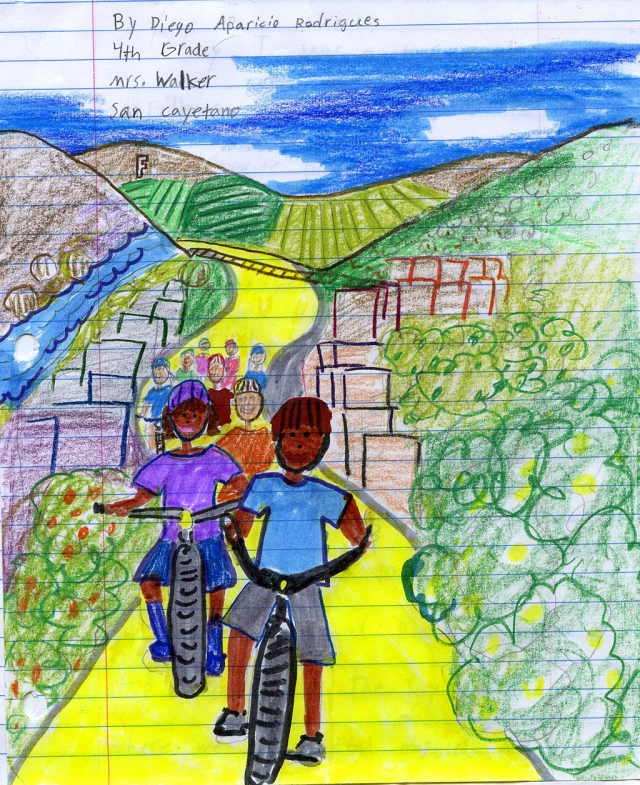 The picture above was drawn by Diego Aparicio Rodrigues. Diego is a fourth grader at San Cayetano School.