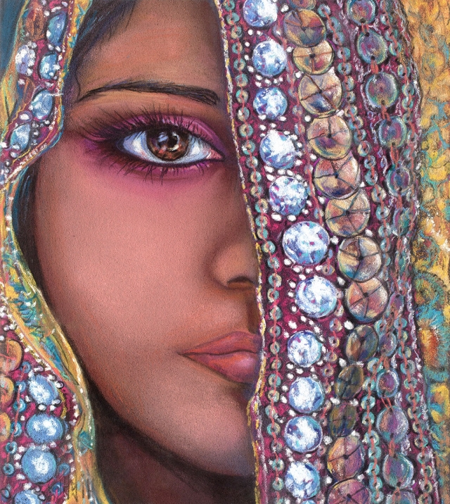 Indian Beauty, pastel, by Tasia Erickson