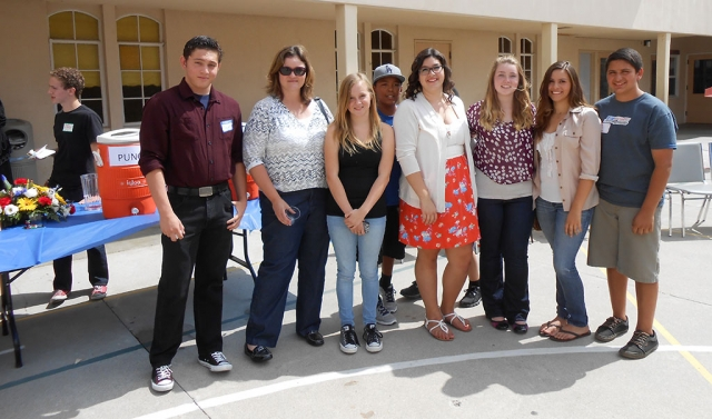Far left Jonathan Brewer, then group Jacob Brooks, Kristen Laber, Ann McKnight, Joshua Sandoval, Bailey Rinaldi, Chloe Richardson, Jessica and Michael Mayhew