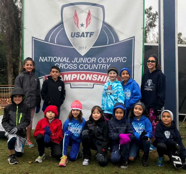 Fillmore Condor Cross Country Team pictured at the USATF Jr. Olympic Cross Country National Championships Saturday, December 9th . (l-r) (top row) Lindsey Ramirez, Diego Rodriguez, Leah Barragan, Niza Laureano, Jordyn Walla, (bottom row) Ayden Marquez, Santiago Felix, Genevieve Abbitt, Paola Estrada, Emily Arriaga, Carolina Garcia and Abel Arana. Photo Courtesy Erika Arana.