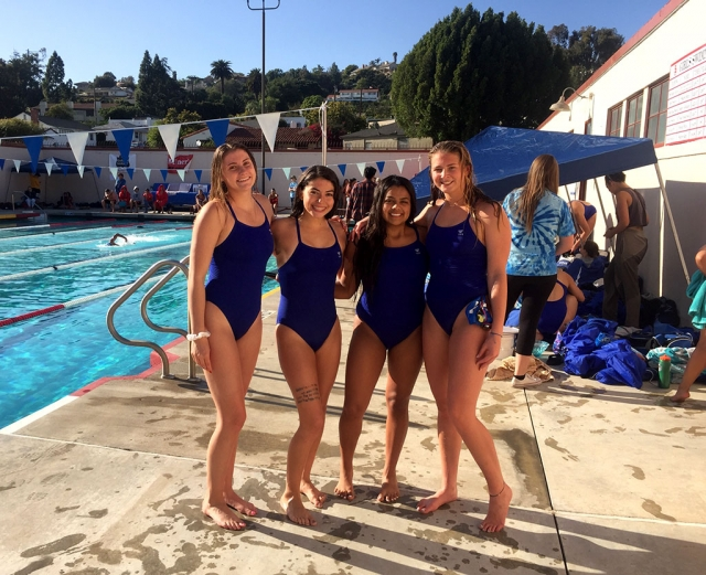 The Fillmore Girls Varsity Swim Team made CIF consideration in the 200 & 400 free relays at last week's event in Santa Paula. Pictured (l-r) are Erin Berrington, Jasmine Gonzalez, Daisy Santa Rosa, and Katrionna Furness.