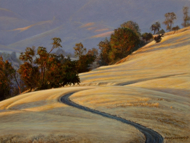 """Figueroa Shadows"" by George Lockwood, acrylic on board, 9"" x 12"", Collection of the artist."
