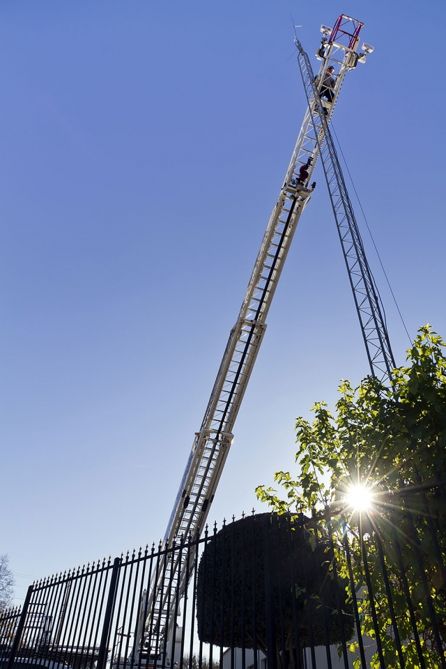 The fire department used their ladder truck to remove a defective antenna on top of the telemetry tower on the fire department property.