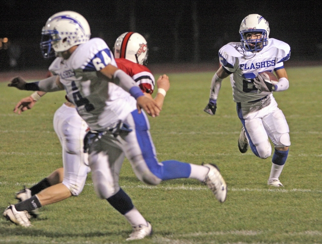 "Ralph Sandoval #25 scores the first touchdown of the game. Other game highlights, Troy Hayes had over 200 all purpose yards along with a 49 yard interception touchdown; Nathan Ibarra was 4 of 10 for 124 yards; Noah Aguirre had a 64 yard interception return for a touchdown. The defensive line recorded 4 sacks collectively. Matt Dollar stated, ""The Defense played a great game for us. The D-line and secondary had a solid night holding Carp to just 32 yards in the first half."""