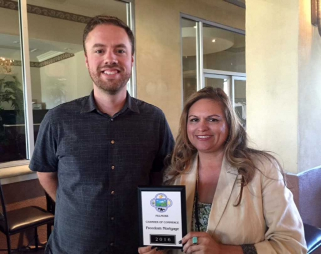 Ari Larson representing the Fillmore Chamber of Commerce presents Blake Allred with Freedom Mortgage his membership plaque. Freedom Mortgage is dedicated to helping customers achieve the American dream of home ownership. Blake can be reached at 805.208.9046