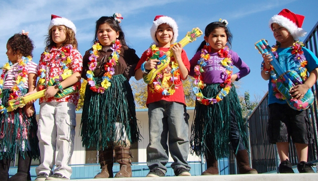 Ms. Dunst's kinder class singing a Hawaiian holiday song for the San Cayetano Winter Program.