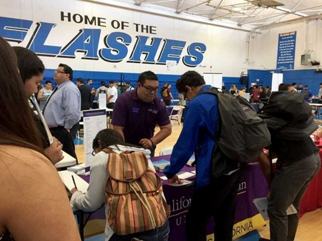 Last week was Higher Education Week (HEW) at Fillmore High School, and on Friday March 17th, the school had colleges available in the gym where students were able to move about freely and check out the college of their choice. HEW sponsored by EAOP UC Santa Barbara.