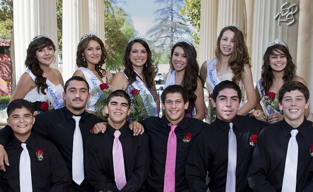 2011 F.H.S. Homecoming Court for Fillmore High School. Pictured standing (l-r) Freshman Princess Elizabeth Ruiz, Second Senior Princess Kenya Medina, Homecoming Queen Jaynessa Lopez, First Senior Princess Vivian Calderon, Junior Princess Laura Garnica, and Sophomore Princess Katie Magana. Kneeling (l-r) Freshman Prince Andrew Bonilla, Second Prince Sammy Orozco, Homecoming King Robert Bonilla, First Prince Johnny Golson, Junior Prince Joseph De La Mora, and Sophomore Prince Carson McLain. [Photo's by KSSP Photographic Studio]
