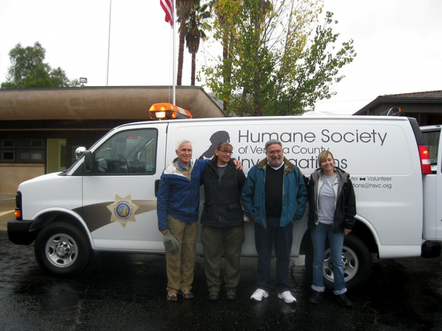 Posing in front of the Humane Society of Ventura County's new investigations van are, from left: Bill Brothers, who converted the van; Humane officer Alina Hoffmann; Jeff Hoffman, director of Investigations for HSVC and Tracy Vail, preliminary investigator for HSVC.