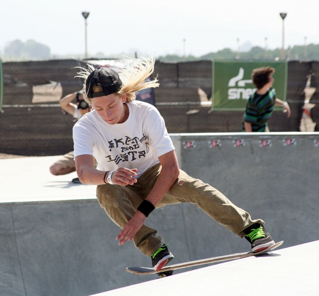 J.T. Erickson of Ojai, does a Crailslide at last Saturday's skate event at Fillmore Skate Park.