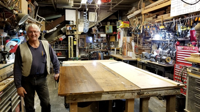 Pictured above is Master Carpenter and Furniture Maker John Galbraith inside his workshop at The Citrus Packing House in Fillmore.