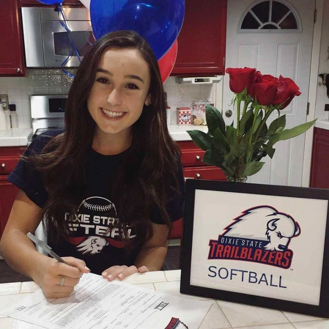Kasey Crawford officially signed her letter of intent to continue her education as well as play softball Dixie State University. She has received an athletic scholarship as an outfielder. Congratulations Kasey!