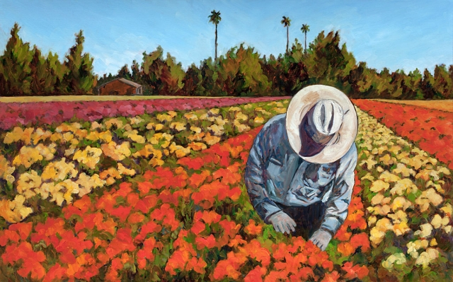 "Best Thematic Representation Winner ""Flower Field, Santa Paula"" by Hilda Kilpatrick, oil on canvas, 30"" x 48"", Collection of the artist."