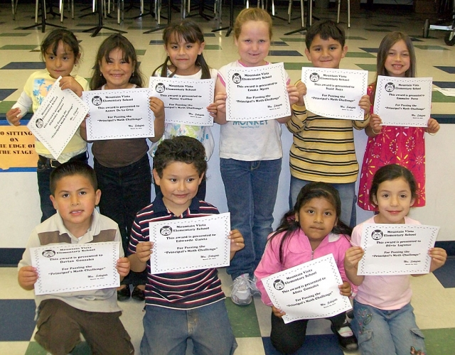 "Congratulations MV Kindergarten students for passing the ""Principal's Math Challenge"". Kindergarten students were challenged to complete a matrix, writing numbers from 1-50 with 100% accuracy in 5 minutes or less. Pictured are: (front row) Davian Gonzalez, Edwardo Garcia, Alicia Gonzalez, Olivia Lagunas (back row) Alejandra Magana, Annet Dela Cruz, Nyssa Garibay, Emma Myers, said Raya, Emmalee Perez."