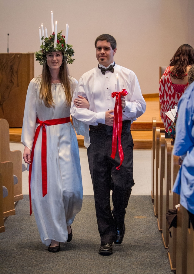 Jamie Morriss as Lucia and her escort, Alex Powell, during the 2012 Sankta Lucia Festival.