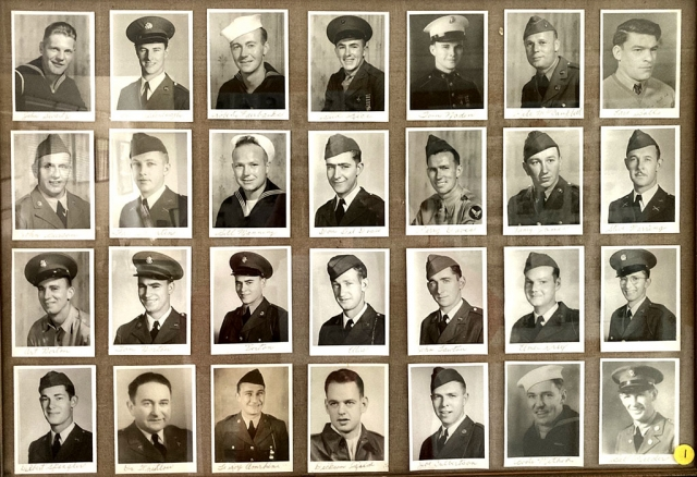 Painter James collected over 1200 photos of Fillmore World War II servicemen. Pictured above is one of the framed Fillmore World War II servicemen displays. Photos Courtesy Fillmore Historical Museum.