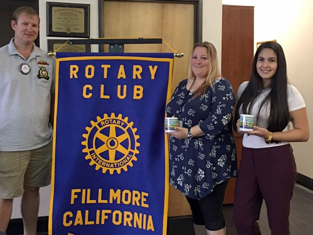 Pictured is President Andy Klittich with Fillmore's new Parks and Recreation Coordinators Krista Martinez and Sandra Edwards. Photo Courtesy Martha Richardson.