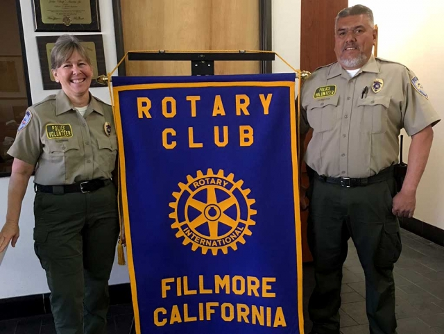 Lisa Hammond and Ray Medrano from the Citizens Patrol gave a presentation last week to Fillmore Rotary Club. They spoke on the main purpose of the Citizens Patrol, which is crime protection by civilian volunteers. They help the local Sheriff's Department by being the eyes and ears throughout Fillmore, Piru and Bardsdale. When they are on patrol they report any suspicious activity to the Sherifff's Dept. They also help work security for local parades, high school proms, and work Bike Rodeo, as well as traffic control. They work a fireworks booth with the Explorers Club so that they can raise money for scholarships. Courtesy Martha Richardson.