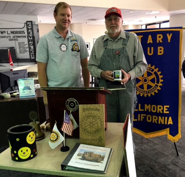 Pictured above is Rotary Club President Andy Klittich with Dan Phipps, from the Railroad Historical Museum, Dan presented on the mission of the Railroad Society which is the preservation of the railroad corridor from Santa Clarita to Montalvo, the main working area is Piru to Montalvo and promoting railroad education. Some of the activities they are part of is the Railroad Visitor Center where they have a miniature running train, train library, theater for watching train movies and a gift shop. He related that other groups may come and use the theater for movies. The group also maintains the turntable, behind the Fillmore Historical Museum, and works on maintenance, repair and painting on trains in the yard. While riding the trains they help the visitors enjoy the journey. If you love trains this is the place for you! Photo courtesy Martha Richardson.