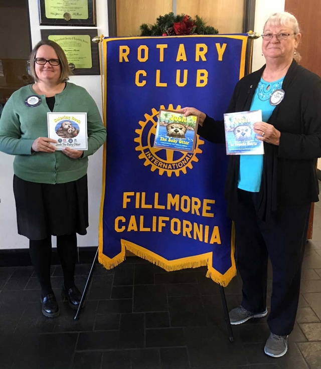 "Alicia Hicks and Cindy Blatt presented a new Rotary Literacy project called ""Josh The Otter."" It is a water safety program which will be presented to Preschoolers and Kindergarteners. Photo Courtesy Martha Richardson."