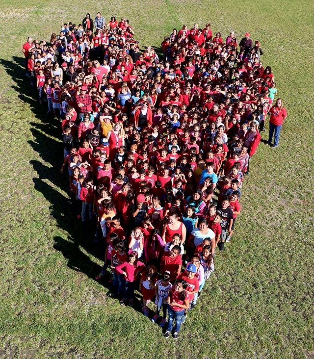 Rio Mesa School is celebrating Red Ribbon Week all the students and teachers form together a giant heart.