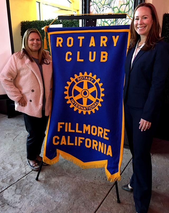 Pictured above is Rotary Club President Ari Larson with Catherine Voelker, who is running for Superior Court Judge, and was a Rotary speaker. She is from a Fillmore farming family, the daughter of Joe and Donna Voelker. When she was in 7th grade Catherine's class visited the Ventura Court and she was enthralled, and that became her goal in life. After high school and college she attended law school to pursue her career. This is her 16th year as a Senior Deputy Attorney. Catherine has dedicated her entire professional career to serving the people of Ventura County and would be honored to continue to serve as a Superior Court Judge. Courtesy Martha Richardso.