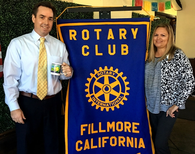 Picture is Rotary President Ari Larson presenting speaker Brian McCarthy, Senior Planner with the City of Fillmore Community Development Department, a Rotary mug as a thank you. Brian discussed new legislations from Sacramento, concerning housing issues and how they will impact Fillmore and Ventura County. Courtesy Martha Richardson.