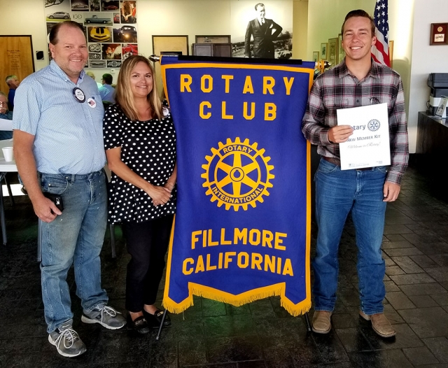 The Rotary Club of Fillmore inducted new member Nick Johnson of Fillmore on July 10th. Pictured (l-r) is sponsor Scott Beylik, President Ari Larson, new member Nick Johnson. Photo courtesy Martha Richardson.
