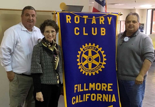 Dave Wareham, President Elect, Marybeth Jacobsen CEO for the Workforce Education coalition and speaker at Rotary, Ernie Villegas program chair.