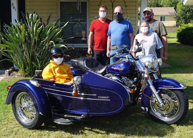 "On Tuesday, October 20th, Mary Ruth Walker celebrated her 100th birthday by taking her first motorcycle ride through Fillmore. Pictured is Ruthie in ""Sidecar Susie"" with her family before she takes off. Photos courtesy of the Side Car Team - Jim Estes, 'Sidecar Susie' Ellsworth and Troy White"