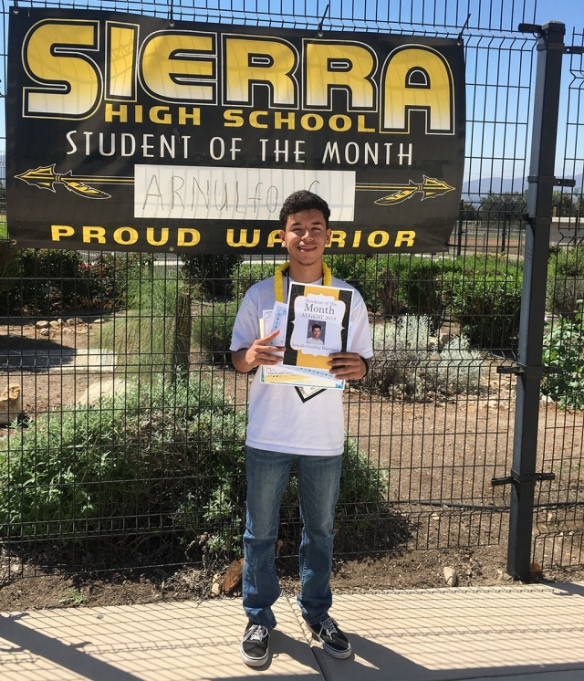 Sierra High August Student of the Month Arnulfo Garibay