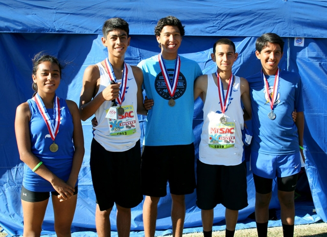 Fillmore High School's Medalists at the 2014 Mt. Sac Invitational. (l-r) Freshman Jackie Chavez (5th place), Sophomore Johnny Martinez (1st place), Senior Francisco Erazo (11th place), Freshman Michael Sanchez (11th place), and Sophomore John Chavez (7th place).