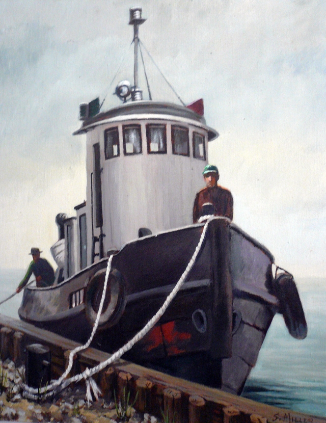 """Tugboat"" oil on canvas by Sally Miller."