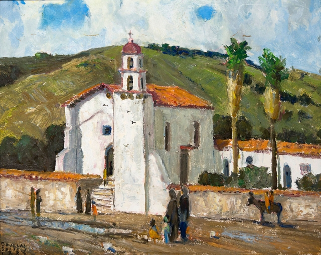 """San Buenaventura Mission"" by Douglas Shively, 1987, oil on board, 16x20"