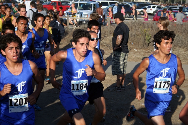 (front l-r) Anthony Rivas, Alexander Frias and Jose Almaguer. (back l-r) Hugo Valdovinos and Isaac Gomez. All five boys placed in the top 40, each receiving a medal for their race.