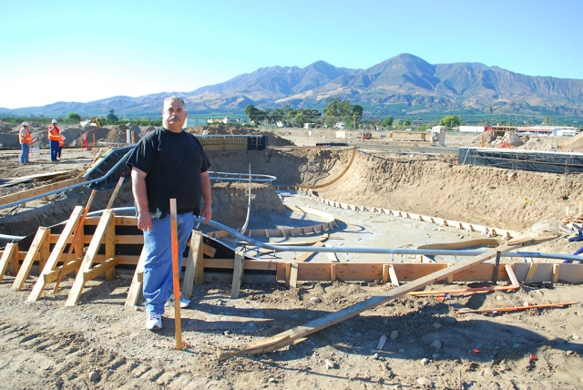Mayor Steve Conaway stands before Fillmore's new skateboard park which is well under way.