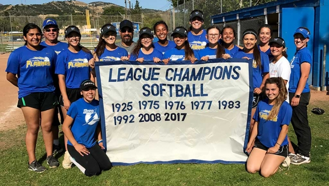 Fillmore High School's 2017 Softball League Champs, are pictured with the Champions banner. Photo Courtesy Coach Kellsie McLain.