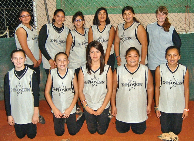 A big congratulations to the 12 & under softball team Xplosion, the girls came in first place in the Ventura league. Good luck on your upcoming tournaments. We know you will make your parents proud. Pictured to the left are top row: Savannah Larson, Brittany Larson, Sierra Hernandez, Katelyn Lewis, Stephanie Gutierrez, and