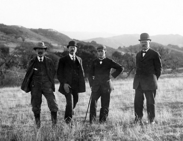 Solvang's Founders. The Rev. J.M. Gregersen (far right) stands with (left to right) land agent Mads Frese and fellow founders P.P. Hornsyld and the Rev. Benedict Nordentoft. Courtesy of Elverhoj Museum of History and Art.