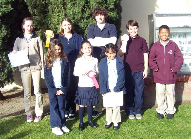 Fillmore Christian Academy sent eight students to compete in the ACSI District 6 Spelling Bee held at Cornerstone Christian School in Camarillo. All of the students competing are pictured above. Those receiving ribbons are the following: Sasha Adame 2nd Place, Noah Laber 3rd Place, Jacob Brooks 3rd Place and CeCe Flinn 4th Place; Back row: Sarah Stewart, CeCe Flinn, Jacob Brooks, Noah Laber, Joshua Sandoval; Front row: Ashley McKnight, Sasha Adame, ImaJoy Zerrudo.
