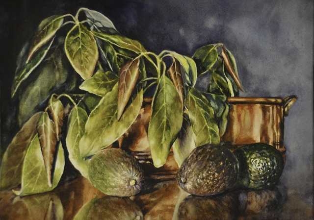 """Sprigs of Avocado"" by Gail Faulkner, watercolor, 16""by 20"" (frame size)"
