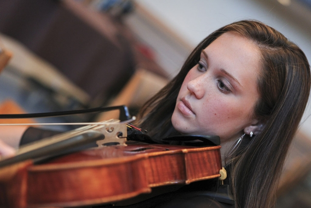 Rebecca Cardone, a member of the Honors String Quartet