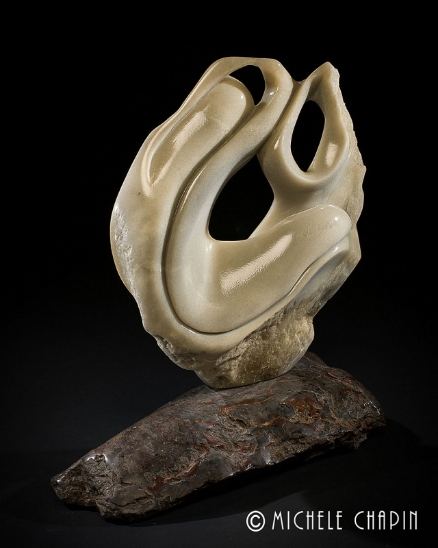 """Tithi"" by Michele Chapin, Canadian Soapstone on California Marble, 2009, Collection of the artist."