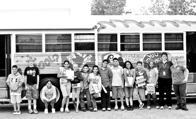 Carolyn Consoli and Kim O'Neil brought the Tobacco Bus to Fillmore Middle School 6th graders again this year! Pictured above are the 6th graders who helped out with the tour: Jorge Hurtado, Moussa Assphor, Arlinda Reyes, Michael Castro, Annelise Ebell, Andrea Madrigal, Cynthia Perez, Ricardo Huante, Haven Craig, Timmy Klittich, Gustavo Magana and Steven Rodriquez.