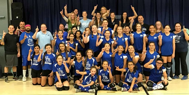 "Fillmore Middle School held their annual ""Lady Bulldogs Volleyball Teams Vs. Staff"" game on Monday. Thank you to an awesome staff for supporting your three teams! Go Bulldogs! Photo by Kelly Myers."