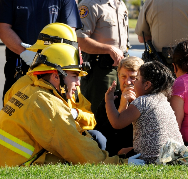 A pedestrian involved traffic collision was broadcast on Wednesday, January 31st. Fillmore Fire responded and thankfully there were no serious injuries. The firefighter pictured above gave special attention to the child involved.
