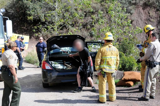 On Monday, March 19, at 2:22pm, a two-car accident occurred at the end of Goodenough and Squaw Flat Road. Three units responded along with VC Sheriffs. No injuries were reported but one of the drivers was naked from the waist down when the units arrived.