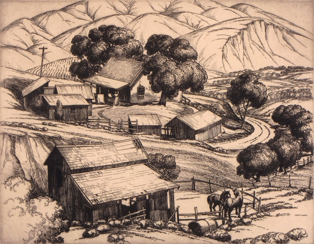 """Foothill Ranch"" by Cornelis Botke, 1936, etching on paper, 7.5"" x 9.5""."