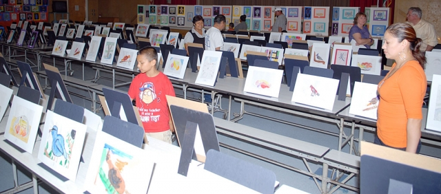 San Cayetano Art Show and Open House was held Wednesday, May 12th. Shown is just one of the many display areas that was available during the evening. A large crowd enjoyed the artistic accomplishments shown.